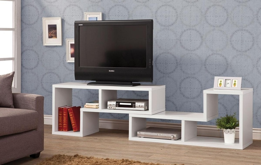 Amazing Best White Contemporary TV Stands Inside White Shelves Contemporary Tv Console Orange County White Shelves (Image 1 of 50)