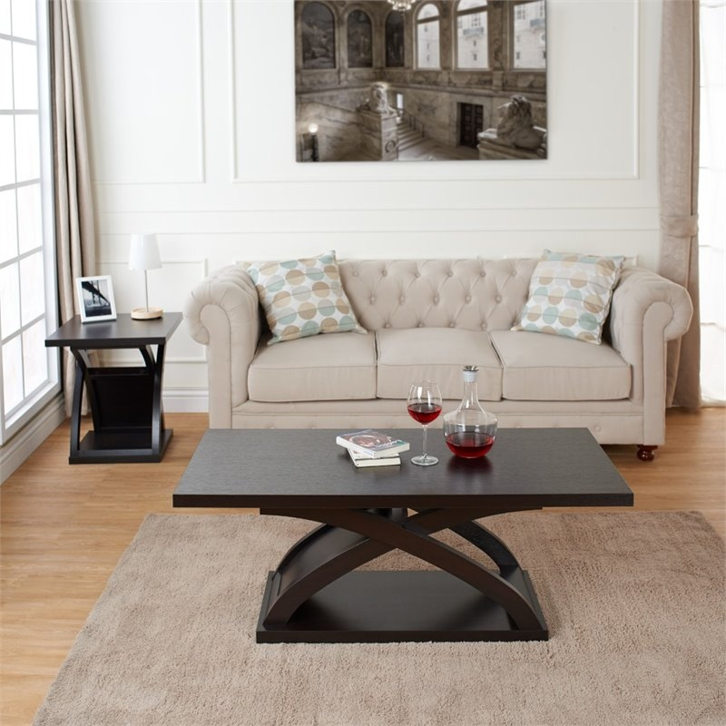 Amazing Brand New 2 Piece Coffee Table Sets Throughout Furniture Of America Porthos 2 Piece Coffee Table Set In Espresso (View 42 of 50)