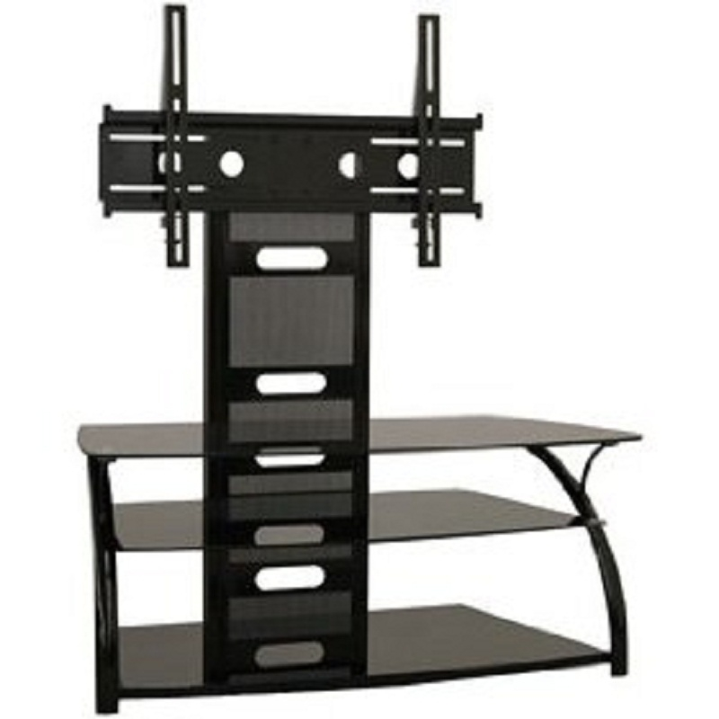 Amazing Brand New Black Glass TV Stands Pertaining To Tech Craft Solution Series Curved Black Glass Tv Stand And Mount (View 14 of 50)