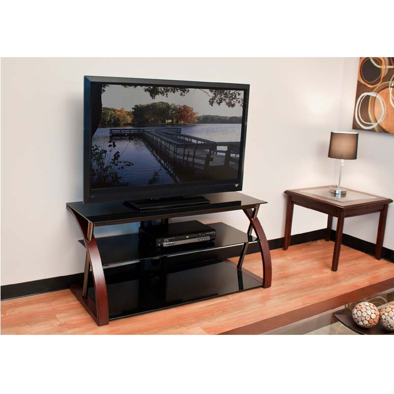 Amazing Brand New Black Glass TV Stands With Regard To Tech Craft No Tools Required 52 Tv Stand With Bent Wooden Legs (Image 3 of 50)