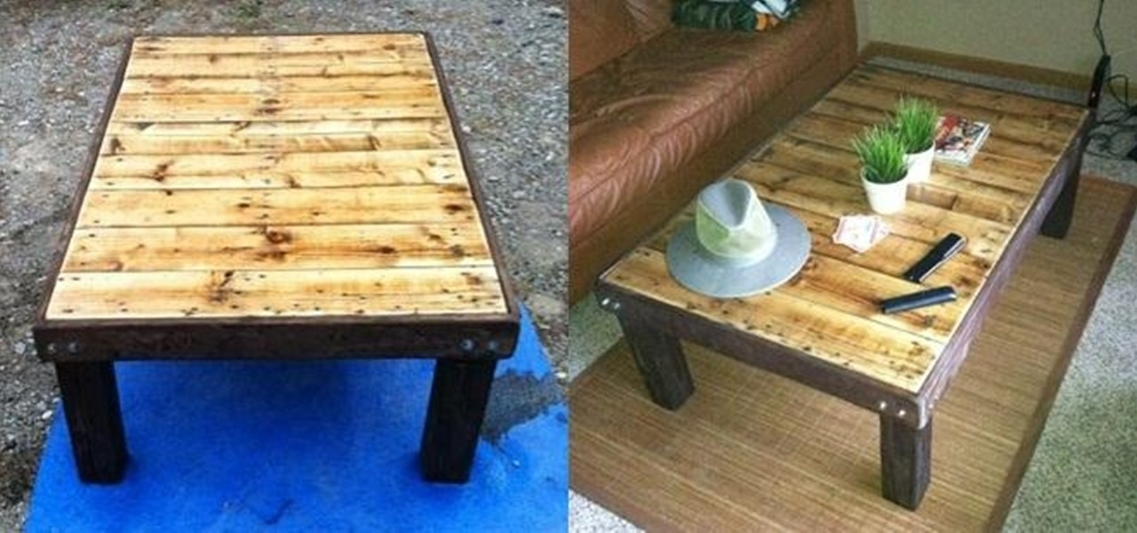 Amazing Brand New Cheap Wood Coffee Tables With Regard To How To Make A Super Cheap Coffee Stained Wood Pallet Coffee Table (Image 1 of 50)