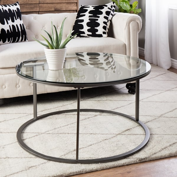 Amazing Brand New Glass Metal Coffee Tables Pertaining To Round Glass Top Metal Coffee Table Free Shipping Today (Image 2 of 50)