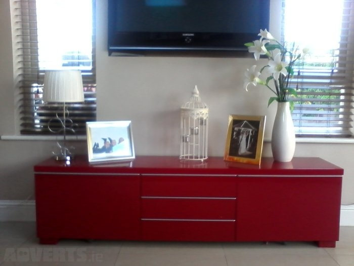 Amazing Brand New Red Gloss TV Stands With Regard To Ikea Besta Burs Tv Stand Sideboard High Gloss Red For Sale In (Image 1 of 50)