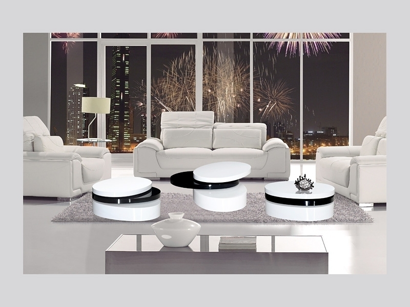 Amazing Brand New Round High Gloss Coffee Tables With Regard To Mayfair Black White High Gloss Coffee Table Homegenies (View 37 of 50)