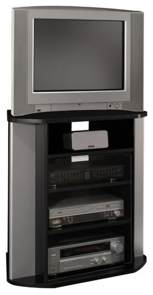 Amazing Brand New Silver Corner TV Stands Intended For Bush Visions Corner Tv Stand In Black With Metal Silver Finish (Image 1 of 50)