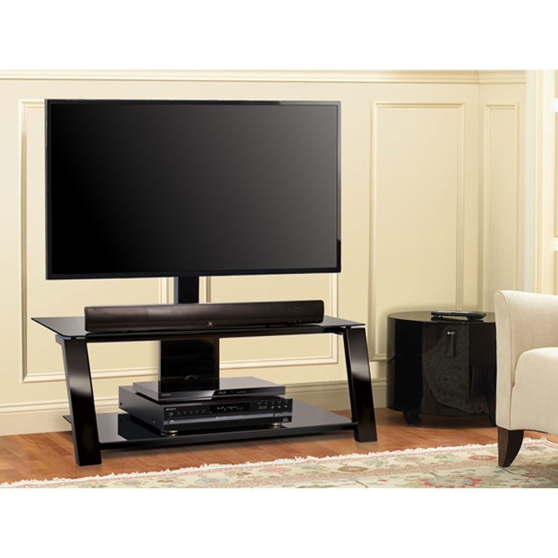 Amazing Brand New Swivel Black Glass TV Stands Intended For Bello Triple Play Tv Stand With Swivel Mount For Screens Up To 55 (Photo 7 of 50)