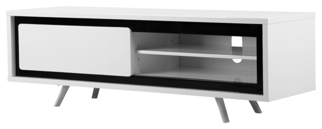 Amazing Brand New White And Black TV Stands Regarding Ava Short Tv Stand Modern Entertainment Centers And Tv Stands (Image 1 of 50)