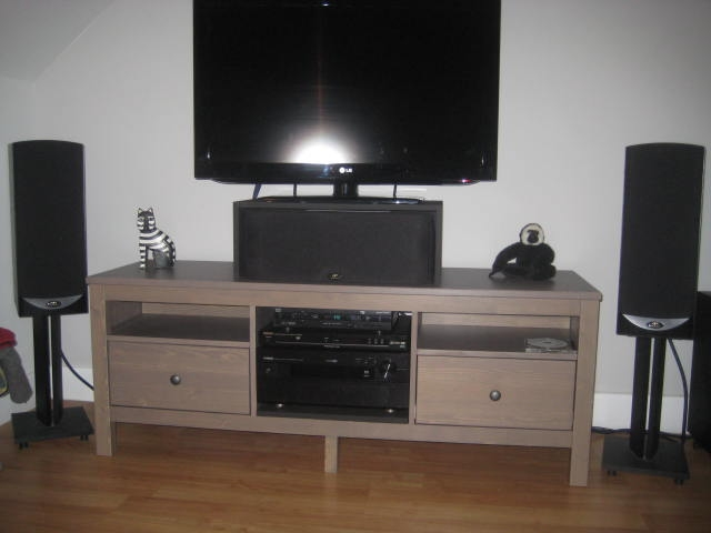 Amazing Common Bench TV Stands Inside Hemnes Stereotv Stand Ikea Hackers Ikea Hackers (Image 1 of 50)
