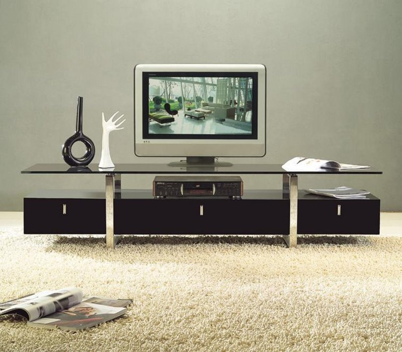 Amazing Common Contemporary Glass TV Stands Intended For Clear Lined Design Modern Brown Color Tv Stand With Glass Top (Image 1 of 50)
