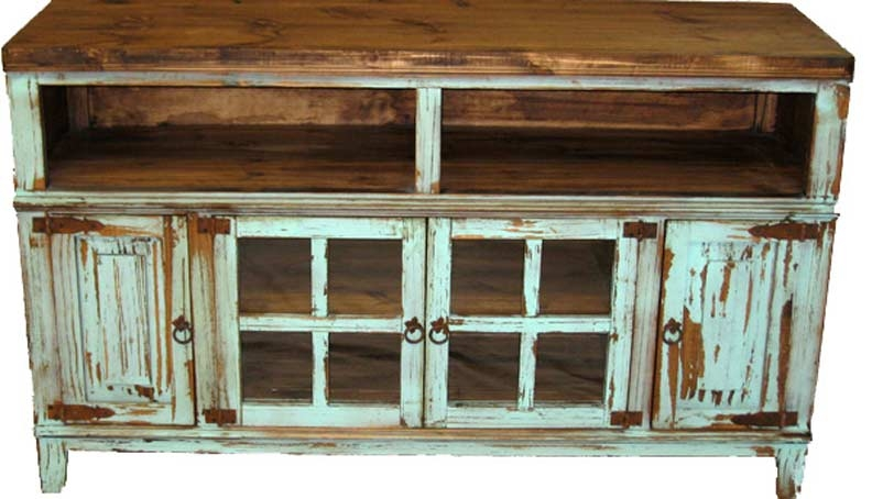 Amazing Common Country TV Stands With 60 Turquoise Tv Stand With Glass Doors Real Wood Rustic Western (Image 1 of 50)