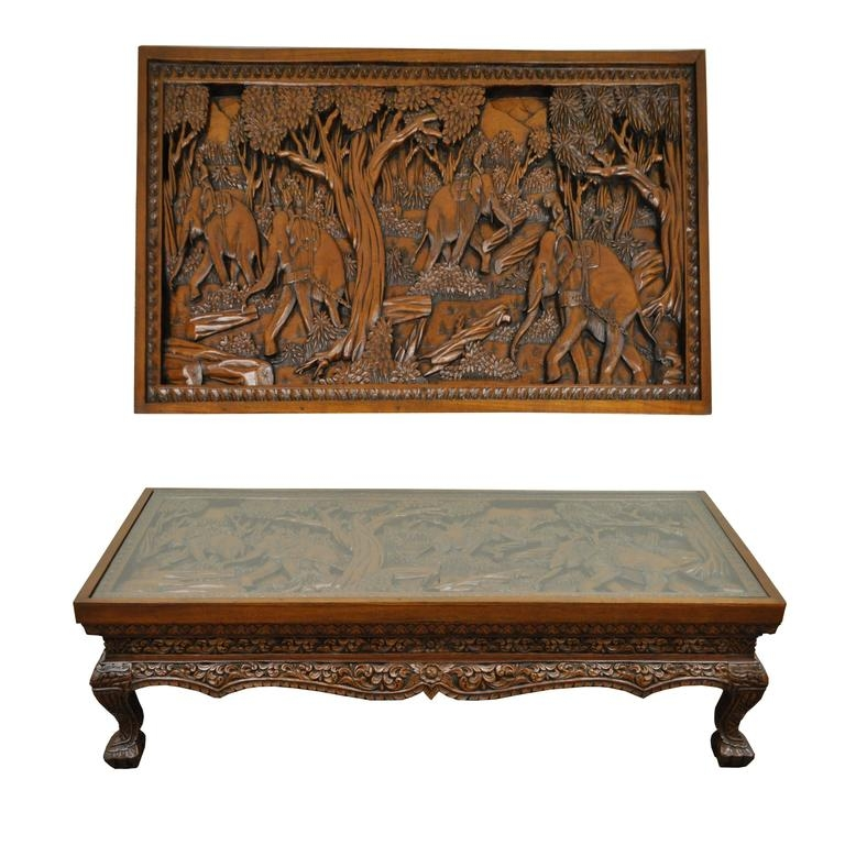 Amazing Common Elephant Coffee Tables With 20th Century Vietnamese Hand Carved Asian Coffee Low Table With (Image 1 of 50)