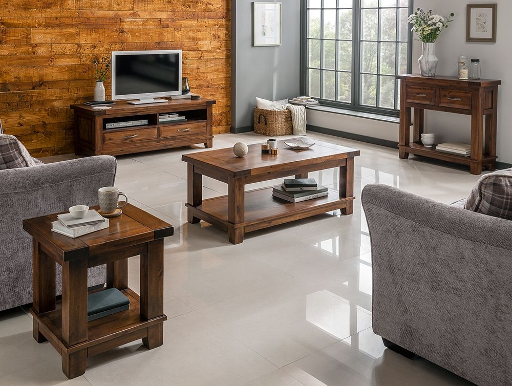 Amazing Common Emerson TV Stands With Dark Wood Tv Unit With 2 Drawers Emerson At Big Blu (Image 3 of 50)