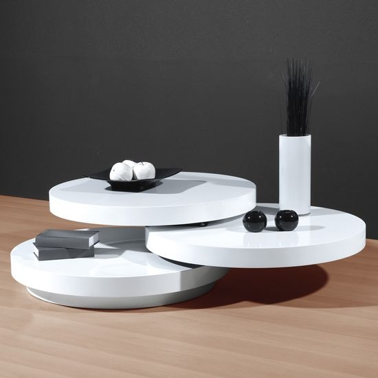 Amazing Common Gloss Coffee Tables Inside Genesis White High Gloss Round Swiveling Coffee Table Coffee (View 19 of 50)