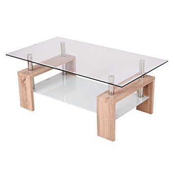Amazing Common Rectangle Glass Coffee Table Throughout Amazon Tangkula Rectangular Glass Coffee Table Shelf Living (View 45 of 50)