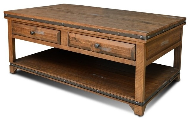 Amazing Common Rustic Coffee Table Drawers Throughout Reclaimed Wood Coffee Table With 2 Drawers Rustic Coffee (View 5 of 50)