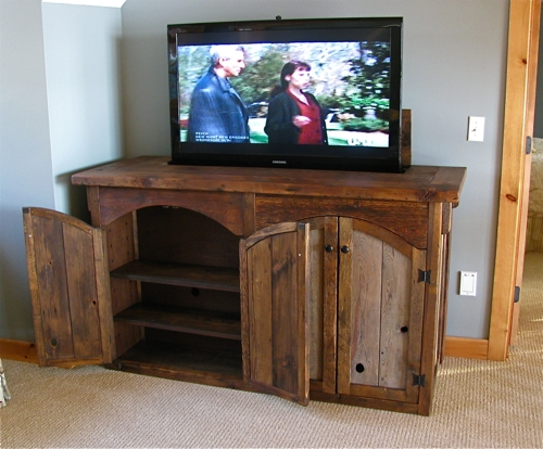 Amazing Common Rustic Wood TV Cabinets In Custom Rustic Furniture Don Mcaulay Rustic Tv Lift Cabinet 4 Door (View 9 of 50)