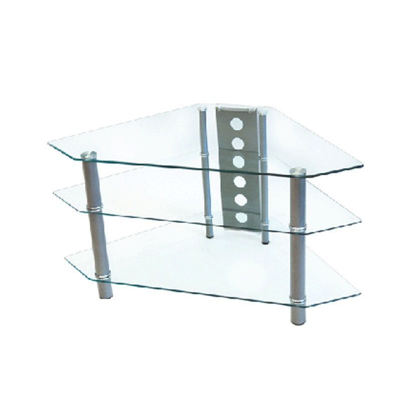 Amazing Common Silver Corner TV Stands With Regard To Walker Edison Bermuda 44 Inch Corner Tv Stand Silver V44y (Image 4 of 50)