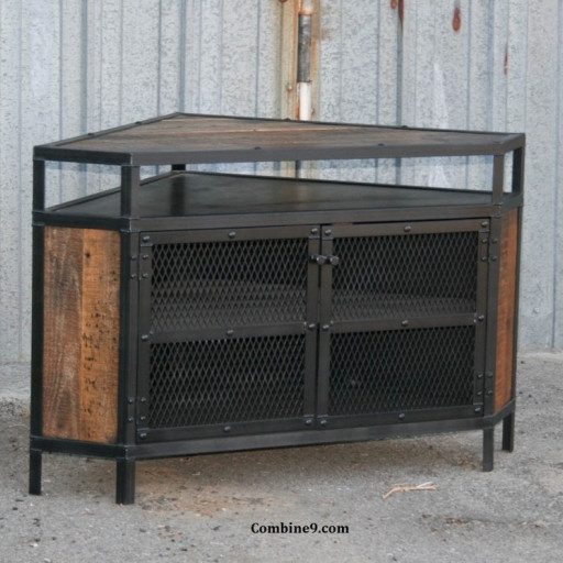 Amazing Common Vintage Industrial TV Stands Regarding Vintage Industrial Corner Unit Tv Stand Urban Modern Loft (Image 2 of 50)