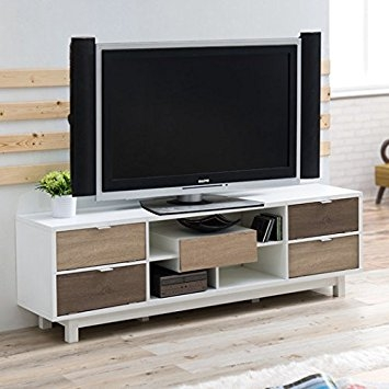 Amazing Common White And Wood TV Stands In Amazon Avada Wood Tv Stand With 5 Drawers And Shelves White (Image 1 of 50)