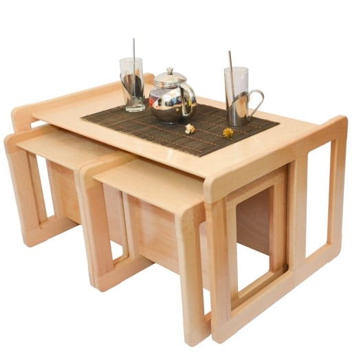 Amazing Deluxe Beech Coffee Tables Within 3 In 1 Adults Multifunctional Nest Of Coffee Tables Set Of 3 Or (Image 3 of 50)