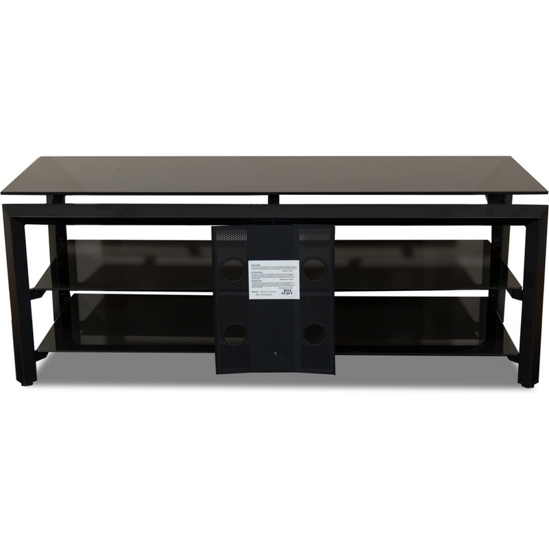Amazing Deluxe Black Glass TV Stands For Techcraft Hbl52 52 Contemporary Tv Stand In Black Metal Black Glass (Image 4 of 50)