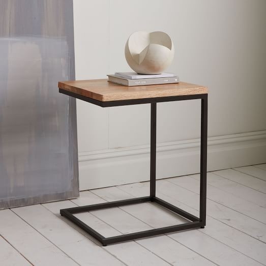 Amazing Deluxe C Coffee Tables Regarding Box Frame C Base Side Table Rustic Mangoantique Bronze West Elm (View 2 of 50)