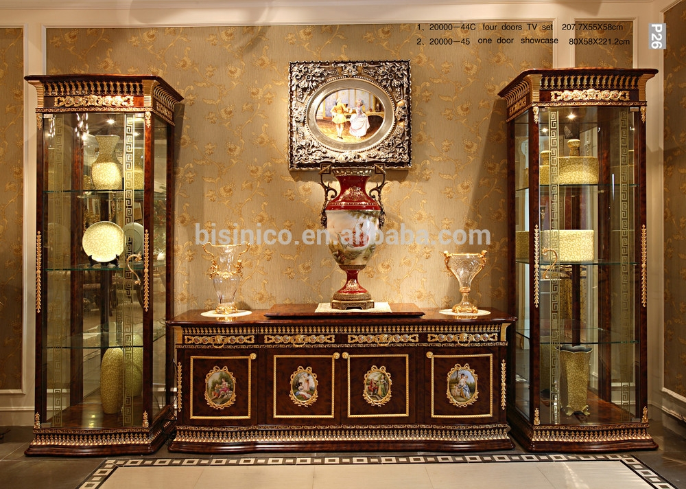 Amazing Deluxe Classic TV Cabinets In French Rococo Style Goldleaf Single Door Display Cabinet With Tv (Image 3 of 50)