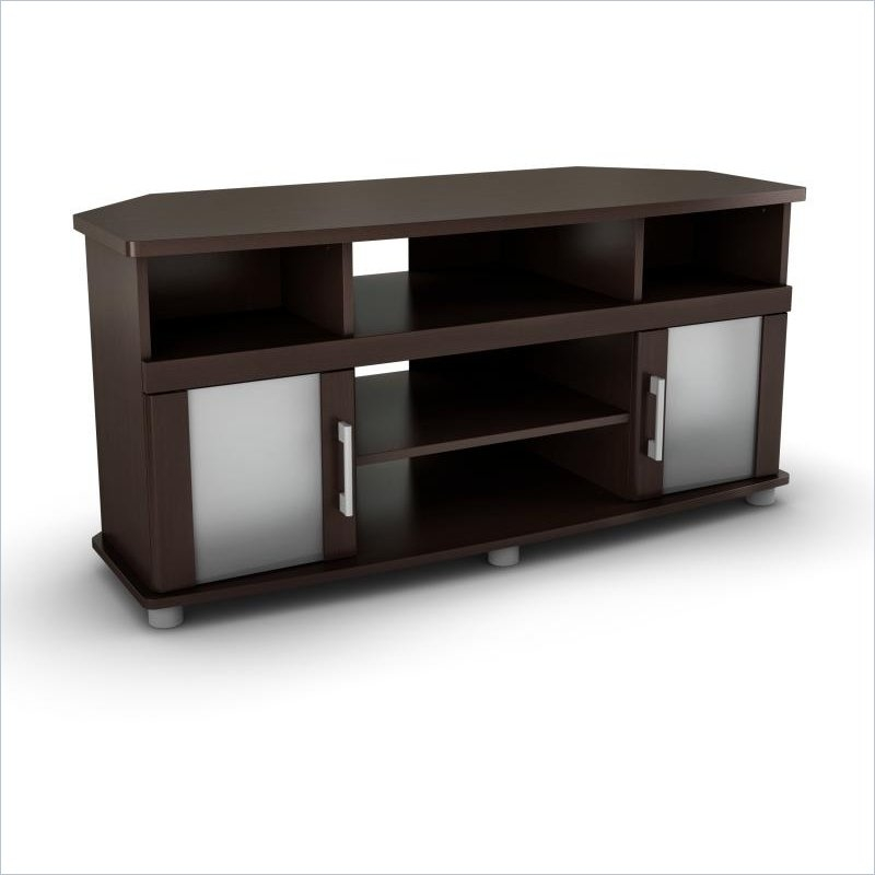 Amazing Deluxe Contemporary Corner TV Stands Pertaining To South Shore City Life Corner Tv Stand In Chocolate (View 35 of 50)