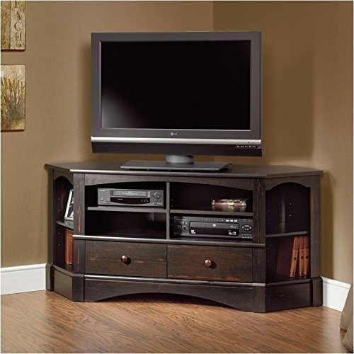 Amazing Deluxe Cordoba TV Stands Inside Sauder Harbor View Corner Tv Stand In Antiqued Paint Flat Screen (Image 1 of 50)