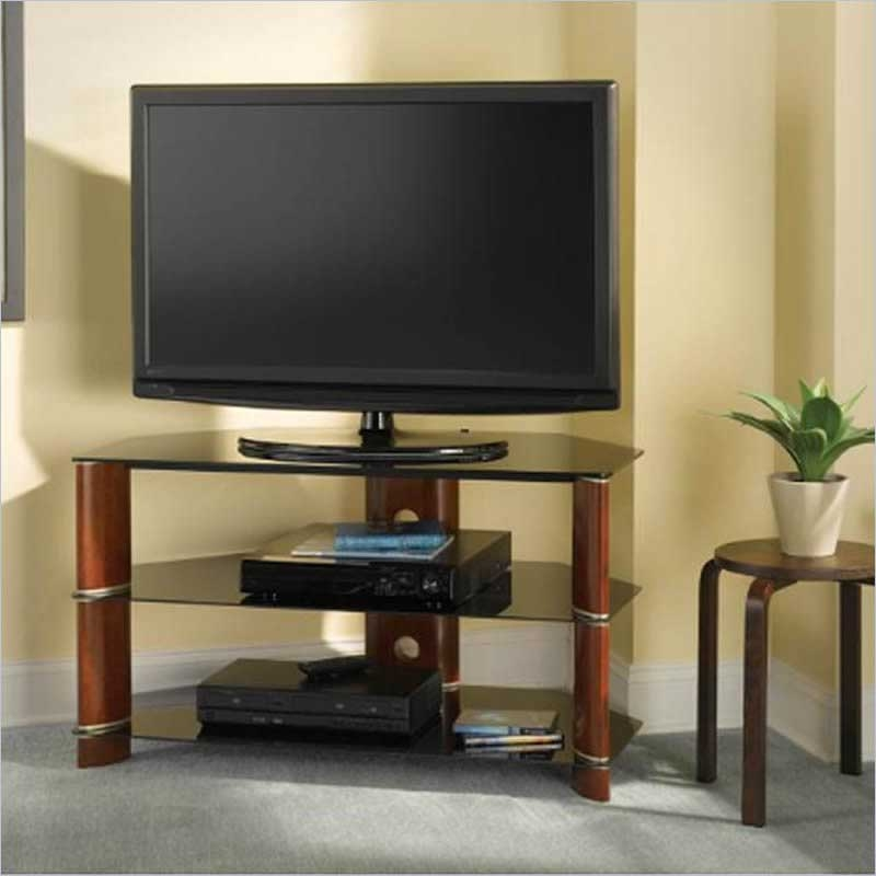 Amazing Deluxe Dark Brown Corner TV Stands Regarding Tv Stands 10 Inspiring Design Of Corner Tv Tables For Flat (View 43 of 50)