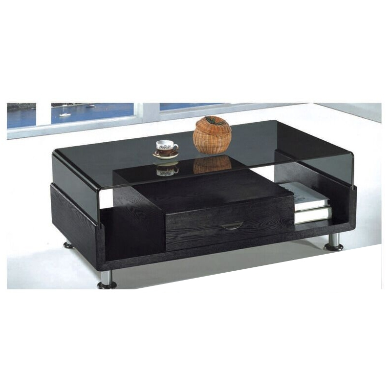 Amazing Deluxe Dark Glass Coffee Tables Throughout Black Coffee Table Glass Top Chrome Legs With 1 Drawer Living Room (Image 2 of 50)
