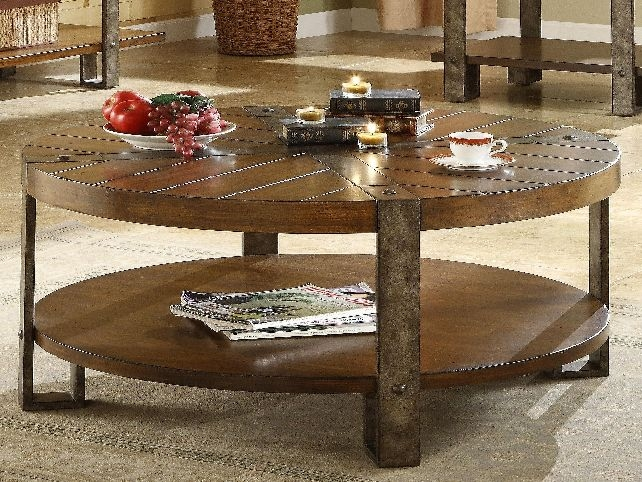 Amazing Deluxe Dark Wood Round Coffee Tables Regarding Coffee Table Cool Circle Coffee Table For Living Room Design (View 19 of 50)