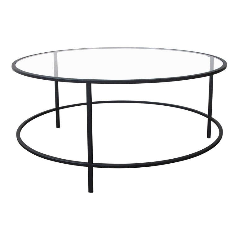 Amazing Deluxe Glass And Metal Coffee Tables Pertaining To Steel And Glass Round Coffee Table For Sale At 1stdibs (Image 3 of 50)