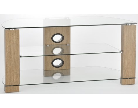 Amazing Deluxe Glass And Oak TV Stands Intended For Tnw Vision 1050 Oak And Clear Glass Tv Stand (View 8 of 50)