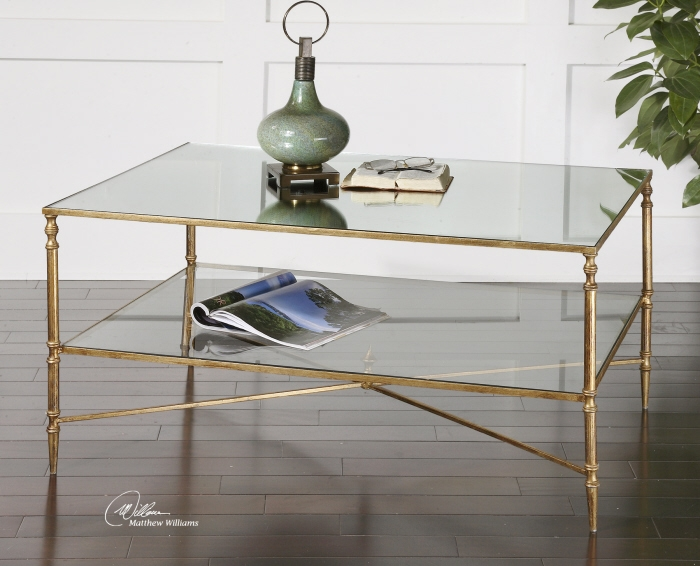 Amazing Deluxe Glass Gold Coffee Tables With Regard To Glass Gold Coffee Table (View 4 of 50)