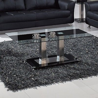 Amazing Deluxe Modern Chrome Coffee Tables Inside Modern Chrome Coffee Table End Glass Black Living Room Furniture (Image 1 of 40)