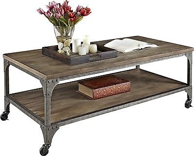 Amazing Deluxe Rustic Coffee Table And TV Stands Inside Rustic Coffee Table Industrial Tv Stand Vintage Distressed (Image 1 of 50)