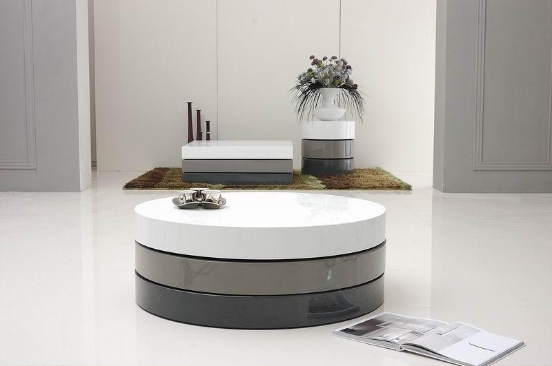 Amazing Deluxe Swivel Coffee Tables Within Trio 3 Modern 3 Tone Lacquer Round Coffee Table (View 36 of 50)