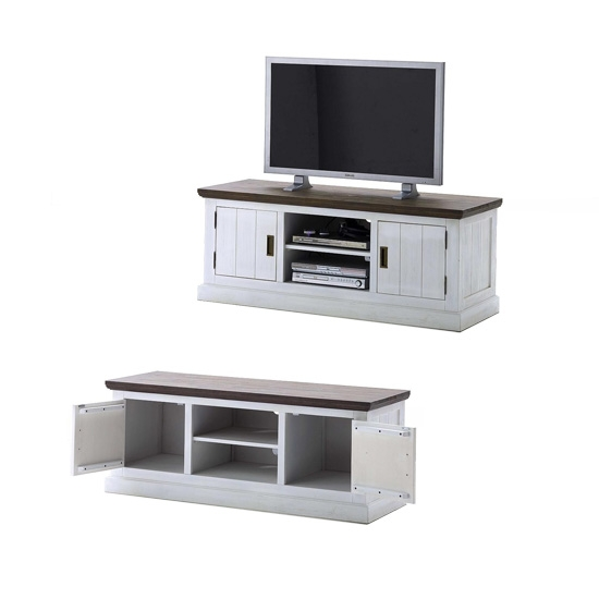 Amazing Deluxe White And Wood TV Stands Within Gomera Tv Stand Lowboard In Wood Acacia 19834 Furniture In (Image 3 of 50)