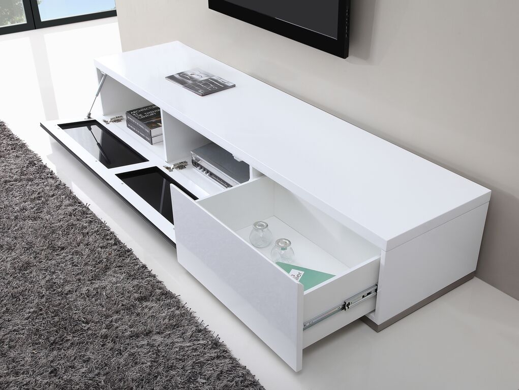 Amazing Deluxe White High Gloss TV Stands Within Producer Tv Stand White High Gloss B Modern Modern Manhattan (Image 2 of 50)