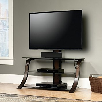 Amazing Deluxe Wooden TV Stands For Flat Screens Throughout Amazon Sauder Veer Panel Tv Stand With Tv Mount Sgs Non Wood (Image 1 of 50)