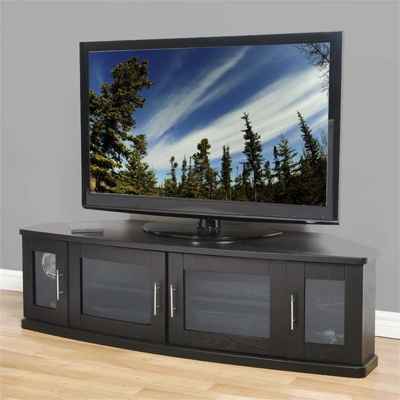 Amazing Elite Corner TV Cabinets For Flat Screens With Doors Intended For Plateau Corner Tv Cabinet For 42 62 In Tvs Black Newport 62 B (Image 1 of 50)