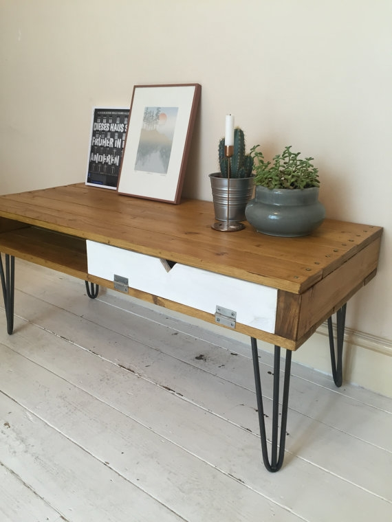 Amazing Elite Hairpin Leg TV Stands Regarding Industrial Mid Century Style Coffee Tableside Tabletv Stand On (Image 2 of 50)