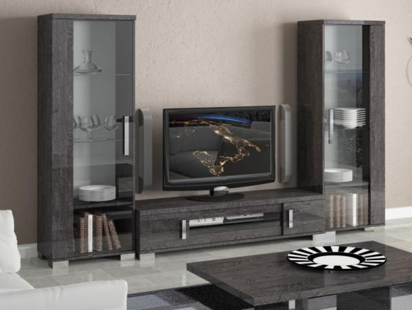 Amazing Elite Wall Display Units & TV Cabinets Intended For Venicia Grey Birch Contemporary Tv Stand And 2 Display Cabinets (Image 3 of 50)