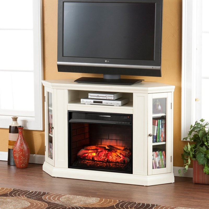 Amazing Elite Wayfair Corner TV Stands Throughout Alcott Hill Dunminning Corner Tv Stand With Fireplace Reviews (View 23 of 50)