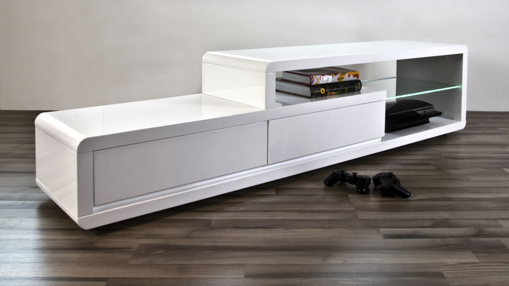 Amazing Elite White High Gloss TV Stands In Modern White High Gloss Tv Table 2 Drawers Clear Glass Shelf (Image 3 of 50)