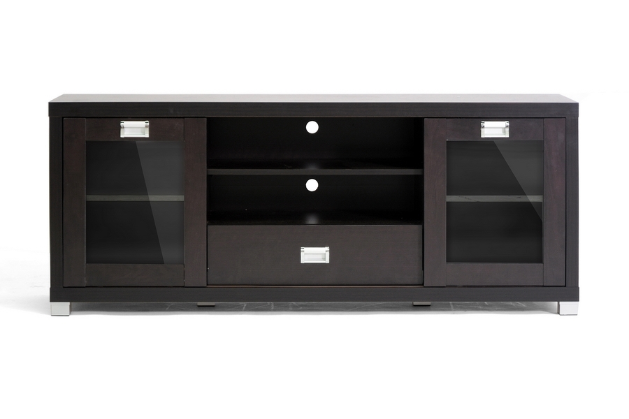 Amazing Famous Black TV Stands With Glass Doors Within Tv Stands With Glass Doors (Image 1 of 50)
