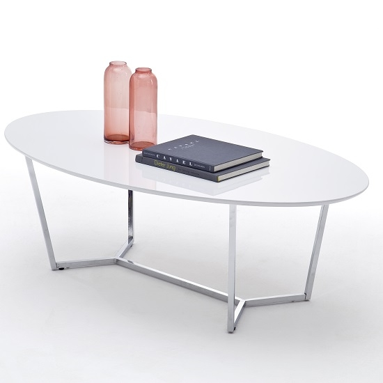 Amazing Famous Coffee Tables With Chrome Legs With Regard To Banham Coffee Table Oval In High Gloss White With Chrome (Image 1 of 50)