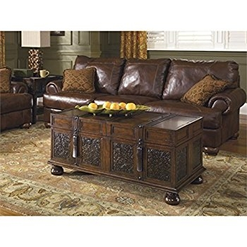 Amazing Famous Dark Brown Coffee Tables Regarding Amazon Ashley Furniture Signature Design Mckenna Coffee (View 27 of 50)