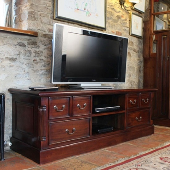 Amazing Famous Mahogany TV Stands Pertaining To Belarus Widescreen Tv Stand In Mahogany With Drawers And (Image 2 of 50)